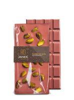 Ruby čokoláda s pistáciemi, Čokoládovna Janek, 90 g