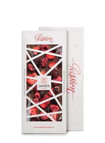 41,3% mléčná čokoláda Passion s jahodami, malinami, ostružinami a rybízem, Čokoládovna Janek, 100 g