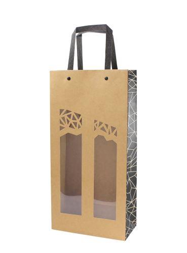 Papírová taška na 2 láhev vína s okénkem - Authentique