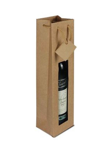 Papírová taška na 1 láhev vína s okénkem - hnědá