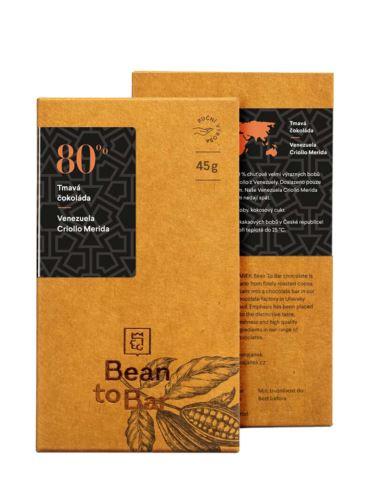 80% Bean to bar hořká čokoláda – Venezuela Criollo Merida, Čokoládovna Janek, 45 g