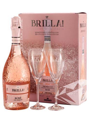 Dárková sada Prosecco Rosé Brilla + 2 skleničky