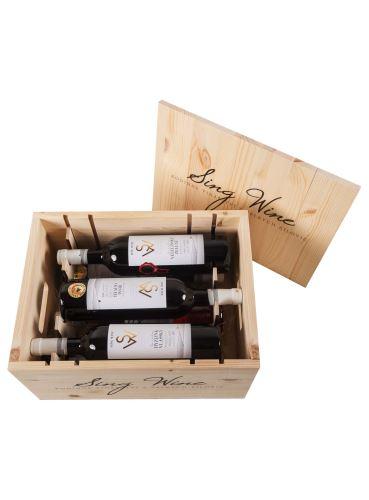 Kolekce Sing Wine v dřevěné bedně